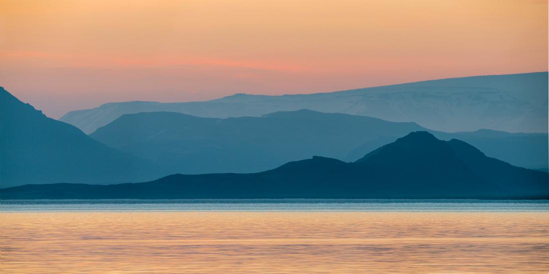 Þingvallavatn panorama in the Midnight sun.