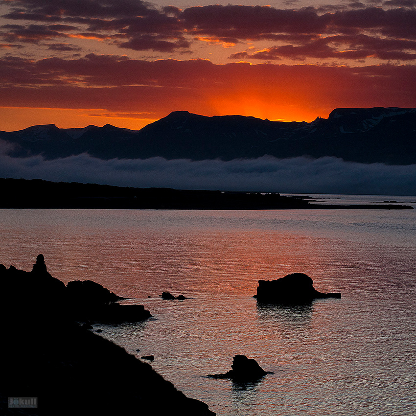 Sunset in the East Fjords.