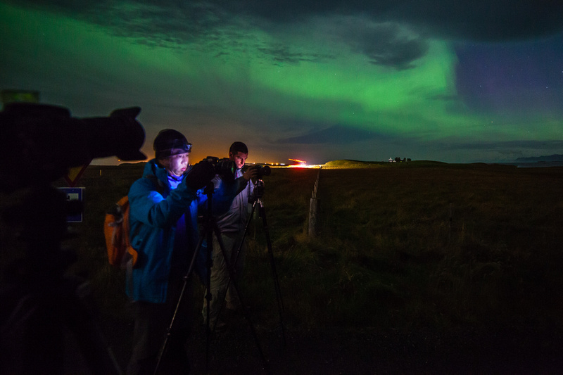 Aurora borealis shooting near Höfn