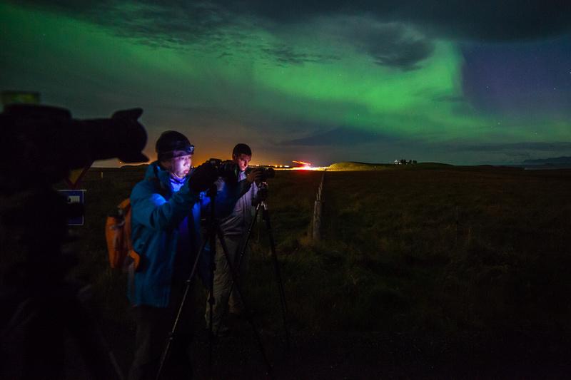Aurora borealis shooting near Höfn